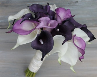 Wedding Bouquet Purple Calla Lily Bouquet Purple Bouquet  Real Touch Purple Calla Lily Bridal Bouquet Wedding  Bouquets,  Weddings