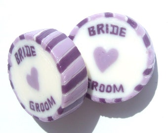 Lilac and Purple Wedding Favour Rock sweets with BRIDE and GROOM in Summer Fruits Flavour