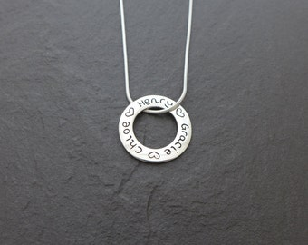 Personalised fine silver name pendant