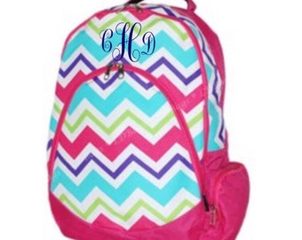 Multicolor/Hot Pink Chevron Backpack with FREE Monogram