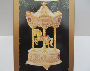 Hallmark   Ornament  1995   Tobin   Fraley  - Holiday  Carousel   QLX  7269- lighted Christmas Ornament