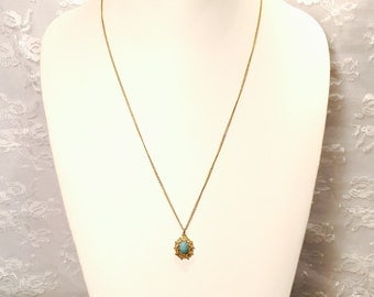 Vintage Turquoise Blue Gemstone Pendant Necklace on Long Gold Chain