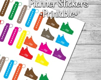 Hydration and Steps Tracker Planner Stickers- Printable- Digital File