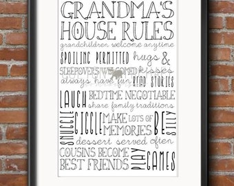 Grandma's House Rules- PRINTABLE PDF FORMAT- Customizable