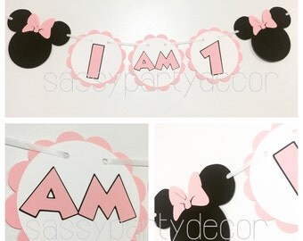 Pink White Minnie Mouse Banner, Minnie Mouse I Am 1, Minnie Mouse Highchair Banner, Minnie Mouse 1st Birthday Party