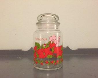 "Strawberry Shortcake Custard the Cat ""Delicious"" Glass Jar 1980"