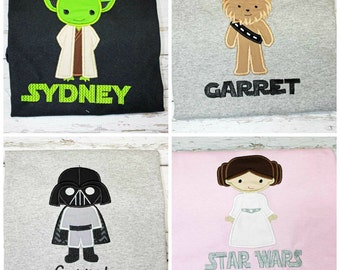 Family Star Wars Shirts, Baby,Toddler,Youth,Ladies,Mens Shirt Sizes,Applique Embroidered Shirts