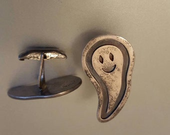 Super cool Vintage Ghost cuff links. Sterling Silver .925