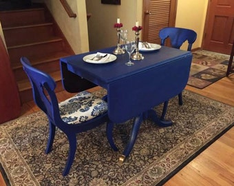 SOLD *** New Travis Court by Drexel Petite Duncan Phyfe Table & Two Chairs *** SOLD ***
