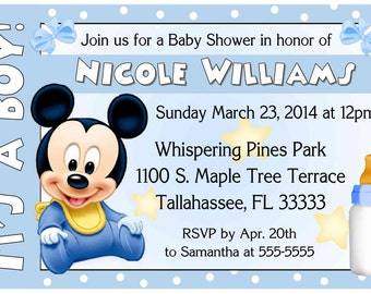 Disney Baby Mickey Baby Shower invitations - DIY - INSTANT DOWNLOAD ~ Printable Digital File