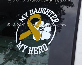 YOU CHOOSE TEXT Metallic Gold Awareness Ribbon Hero/Flower Decal (Childhood Cancer, Neuroblastoma, copd, Rhabdomyosarcoma)
