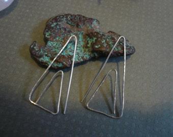 Sterling Silver Triangle Shaped Hoop Earrings