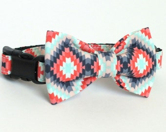 Coral Aztec Inspired Dog Collar Bow Tie set, pet bow tie, collar bow tie, wedding bow tie