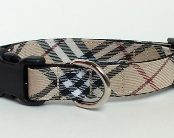 Tan Tartan Dog Collar, plaid