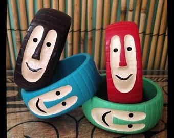 Hand-made Tiki Bob bangle made from resin, hula girl, pin up, tiki bar, polynesian, luau, tiki mug, tahiti, hawaii