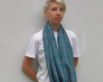 About scarf turquoise - fabric printed with its own grid