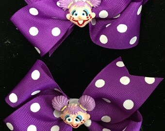 Purple and White Polka Dot Hair Bow