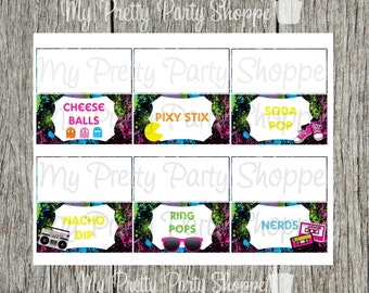 Printable Blank 80's Party / I Love The 80's / Totally 80's Birthday Party Food Tent Cards *INSTANT DOWNLOAD*