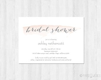 Watercolor Bridal Shower Invitation Printable File