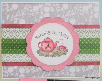 Thanks So Much hand coloured tea pot cards