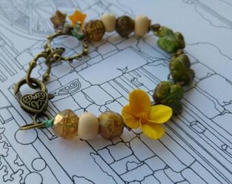 Morning primrose bracelet. Flower bracelet. Art jewelry. Czech glass. Ceramic. Realistic flower. Fae jewelry. Uk artist. Gift for her.