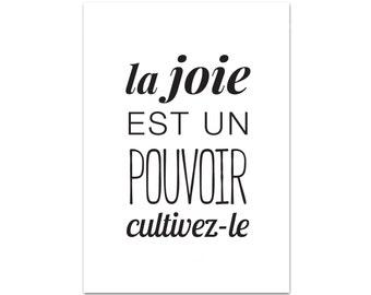"Postcard ""joy is a power, grow it"" - Dalai Lama - A6"