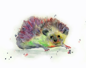 Rainbow hedgehog watercolour painting print
