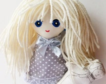 Cotton Fabric Doll, Blond doll, doll with yarn hair, cotton doll, plush doll, adorable doll, yarn hair doll, nice doll, forty ravens