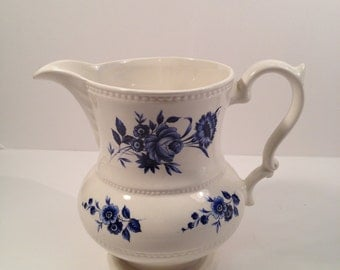 Lord Nelson Pottery Ceramic Pitcher in Blue and White, Produced in 1975, Use for Pitcher, Vase, Planter.