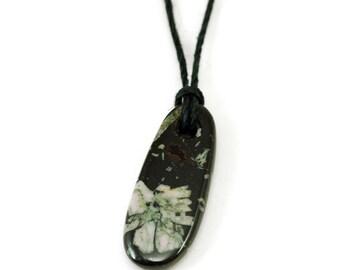 Chinese writing stone pendant, Wallowa writing stone, flower stone pendant