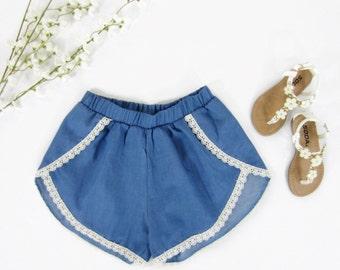 Girls Chambray Shorts, Lace Trim Shorts, Girls Coachella Shorts, Tulip-Front Shorts with Lace Trim Sizes 6/6X, 7/8, 10/12, 14 Ready to Ship