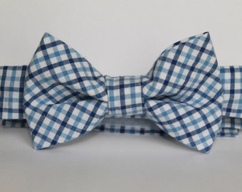 Shades of blue plaid bow tie with adjustable velcro closure, baby, boy