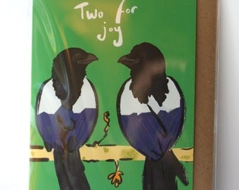 Two for Joy- Magpie- Corvid- Greetings Card