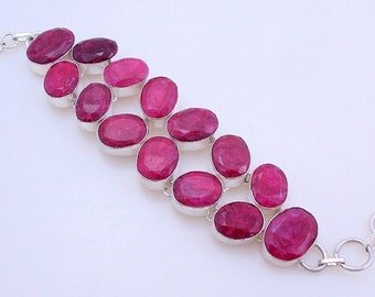 free shipping f-140 Stunning Ruby .925 Silver Handmade Jewelry Bracelet