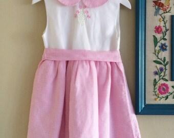 Girls Gingham Dress, Pink Gingham Girls Dress, Pink Girls Dress