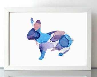Rabbit Watercolor Painting   Wall Art Print - Blue aqua - Home decor - Bunny Fantasy Animal Painting - Pattern Abstract Art- Nursery Decor