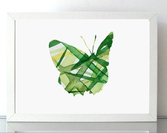 Butterfly Watercolor Painting - Giclee Print - Home Decor Aquarelle - Nursery Art illustration Yellow and green - Animal Painting - Insect
