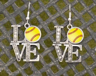 LOVE Softball Earrings