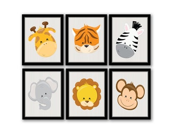 Printable Nursery Art, Safari Animal Art, Safari Nursery, Jungle Wall Art, Animal Nursery Print, Playroom Art, Set of 6, INSTANT DOWNLOAD
