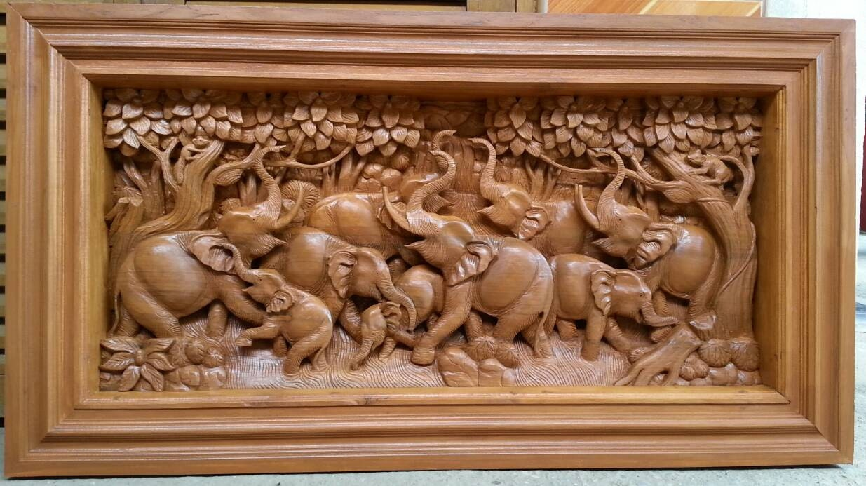 Small carved teak wood wall art decor d panel with beautiful