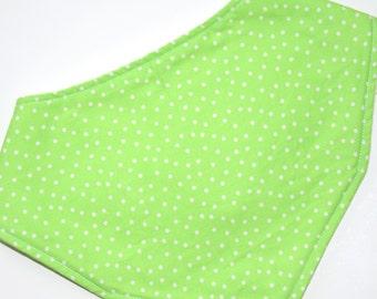 Dribble Bib, Lime Green White Dots, 100% Cotton, Fleece back