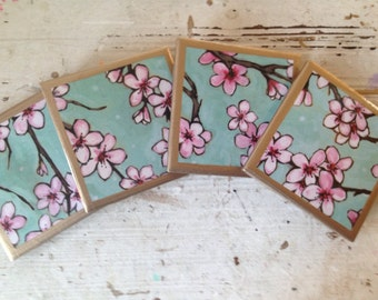 COASTERS!!! Set of four cherry blossom ceramic coasters with gold trim