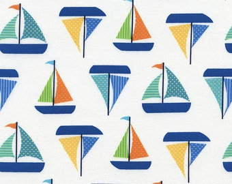Sailboat Fabric - Sailboats in White by Timeless Treasures - 1/2 Yard