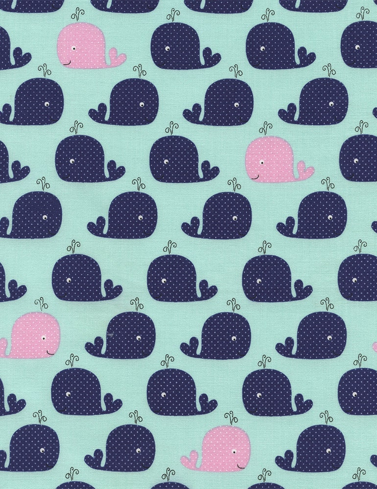 Whale fabric whales in mint by timeless treasures 1 2 yard for Whale fabric