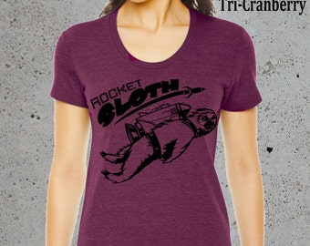 ROCKET SLOTH T Shirt)Womens Graphic Tees,Popular Gifts,Girlfriend Gift-Birthday Gifts,instagram