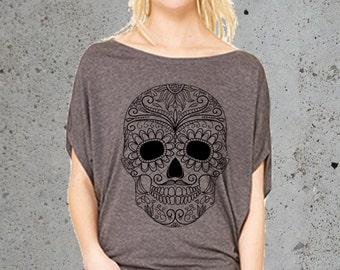 Sugar Skull T Shirt-__Girlfriend Gifts()Instagram Like~Tumblr Grunge T-shirt,Flowy Slouchy Tunic Tshirt,Trending Tops,Women's Graphic Tee