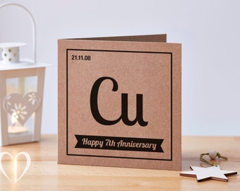 Personalised 7 Year Anniversary Card,  7th Anniversary Card, Copper Anniversary Card, Nerd Anniversary Card, Custom Anniversary Card