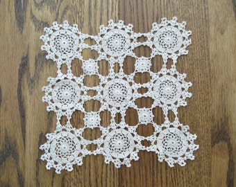 Vintage Hand Crocheted Light Beige (Ecru) Colored Square Doily
