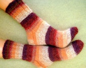Wool socks Hand knitted socks from sock yarn with kid mohair Winter socks Sleeping socks Brown beige Striped socks Womens socks Girl's socks