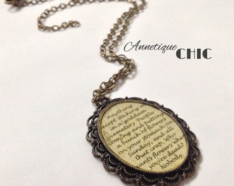 Catcher In The Rye Quote Cameo Necklace